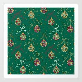 Christmas Balls Green Art Print