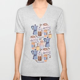 Coffee Love on Yellow Unisex V-Neck