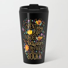 Folded Between the Pages of Books - Floral Black Travel Mug