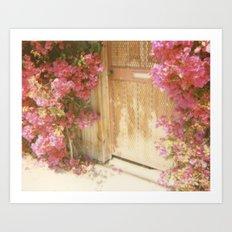 California Bougainvillea Retro Polaroid Print Art Print