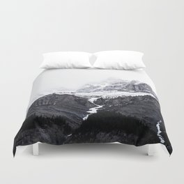 Moody snow capped Mountain Peaks - Nature Photography Duvet Cover