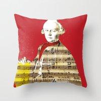 mozart Throw Pillows featuring Wolfgang Amadeus Mozart by Marko Köppe