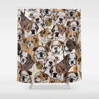 english bulldog Shower Curtains featuring Social English Bulldog by Huebucket