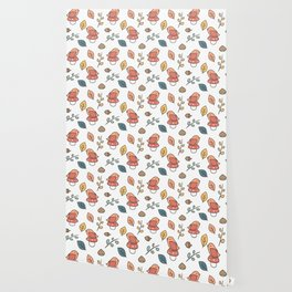 cute lovely autumn fall pattern with birds, mushroom, leaves, branches, acorns and chestnuts Wallpaper