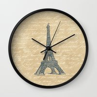 eiffel tower Wall Clocks featuring Eiffel Tower by Zen and Chic