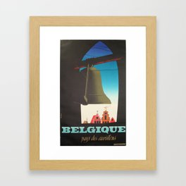 cartel Belgique pays des carillons Belgium Framed Art Print