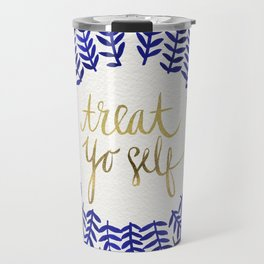 Treat Yo Self – Gold & Navy Travel Mug