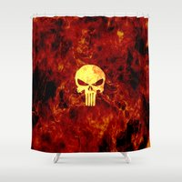 punisher Shower Curtains featuring PUNISHER SKULL FLAME by alexa