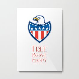 Independence Day Greeting Card-American Bald Eagle Flag Shield Metal Print