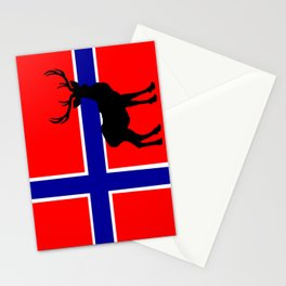 Norwegian Flag with Caribou Silhouette Stationery Cards