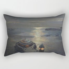 Plymouth Sound by Moonlight and Searchlight coastal nautical landscape painting by Julius Olsson Rectangular Pillow