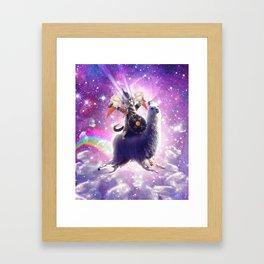 Lazer Warrior Space Cat Riding Llama Eating Ice Cream Framed Art Print