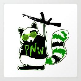 PNW Rebel Raccoon AK47 Art Print