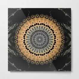 Black Marble with Gold Brushed Mandala Metal Print