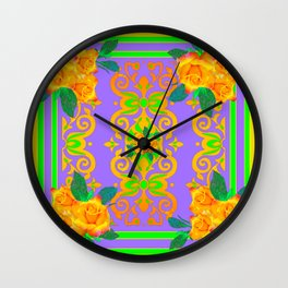 Opulent Golden Rose Bouquets Yellow-Green Purole  Pattern Wall Clock