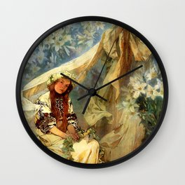 "Alphonse Mucha ""Madonna of the liles"" Wall Clock"