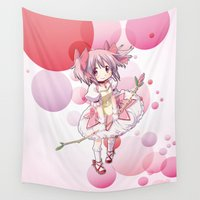 madoka magica Wall Tapestries featuring Madoka Kaname by Yue Graphic Design