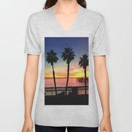California Beach Sunset Unisex V-Neck