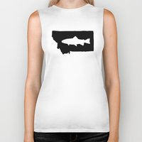 trout Biker Tanks featuring Hyalife Trout Montana  by Hyalife