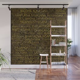 Gold Yoga Asanas / Poses Sanskrit Word Art Wall Mural