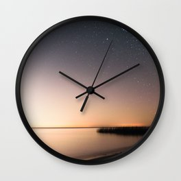 Beautiful starry scene at the coast of 'Colonia, Uruguay'. Long exposure with light pollution. Wall Clock