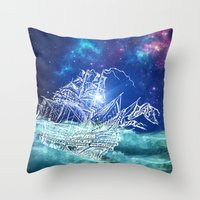 neverland Throw Pillows featuring To Neverland by Cat Milchard