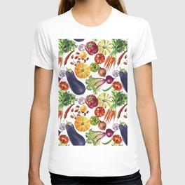 Vegetable mix watercolor pattern T-shirt