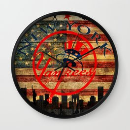 Yankees poster with vintage US map and New York city skyline in background so3 Wall Clock