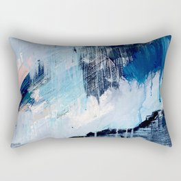 Vibes: an abstract mixed media piece in blues and pinks Rectangular Pillow