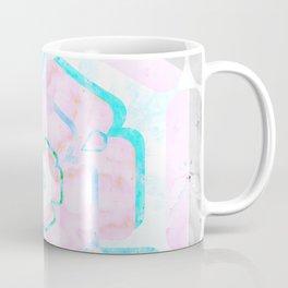 Pale Pink and Teal Viola Hybrid Flower Abstract Art Watercolor Coffee Mug