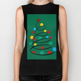 Christmas Tree Minimal Design Art Red Blue Green Biker Tank