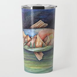 Rainbow Trout and Mountains Travel Mug