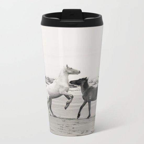 Wild Horses 5 - Black and White Metal Travel Mug
