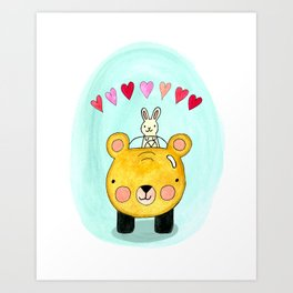 Bear and Bun Take a Ride Art Print