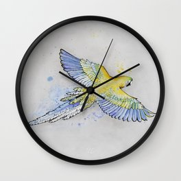 Parrot -- Blue & Yellow Wall Clock
