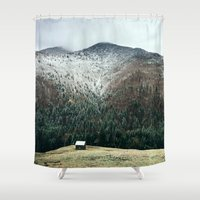 cabin Shower Curtains featuring Cabin in the woods by General Design Studio