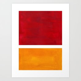 Burnt Red Yellow Ochre Mid Century Modern Abstract Minimalist Rothko Color Field Squares Art Print