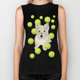 Miss Caroline the Cairn Terrier is Obsessed About Fetching Tennis Balls Biker Tank