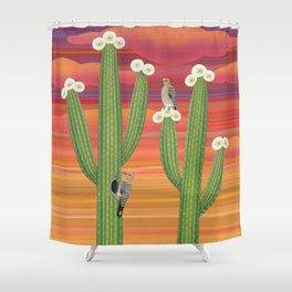 gila woodpeckers on saguaro cactus Shower Curtain