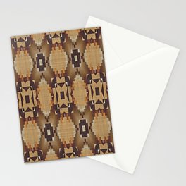 Khaki Tan Orange Dark Brown Native American Indian Mosaic Pattern Stationery Cards