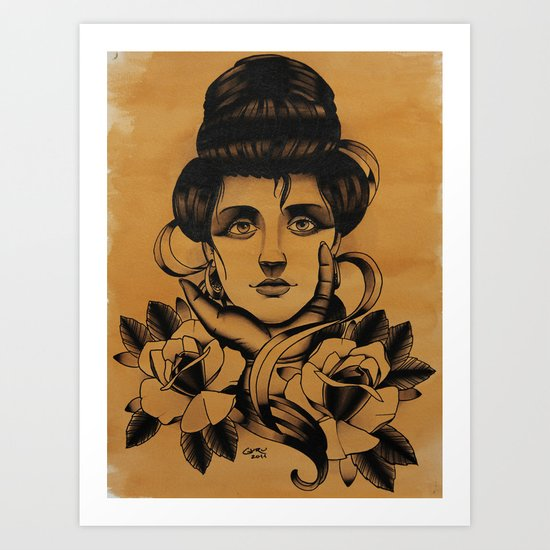 WOMAN and Roses - TATTOO Art Print