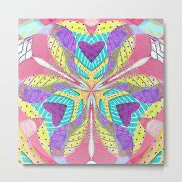 Neon Pastel 80s Love Mandala Metal Print