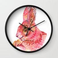 squirrel Wall Clocks featuring The squirrel magic  by Ola Liola