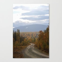 Lonely road in sub-polar Ural mountains Canvas Print