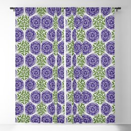 SCION purple blue spring bloom with greenery pattern Blackout Curtain