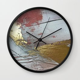 Darling [2]: a minimal, abstract mixed-media piece in pink, white, and gold by Alyssa Hamilton Art Wall Clock
