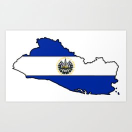 El Salvador Map with Salvadoran Flag Art Print