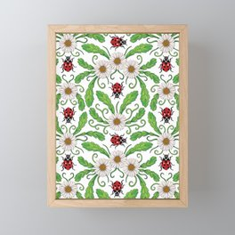 Ladybugs & Daisies - Cute Floral Bug Pattern with Ladybirds Framed Mini Art Print