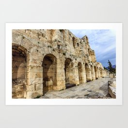 wall of ancient theater of Herodes Atticus Odeon, Athens, Greece Art Print