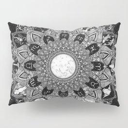Zodiac Signs Mandala with Starry Background Pillow Sham